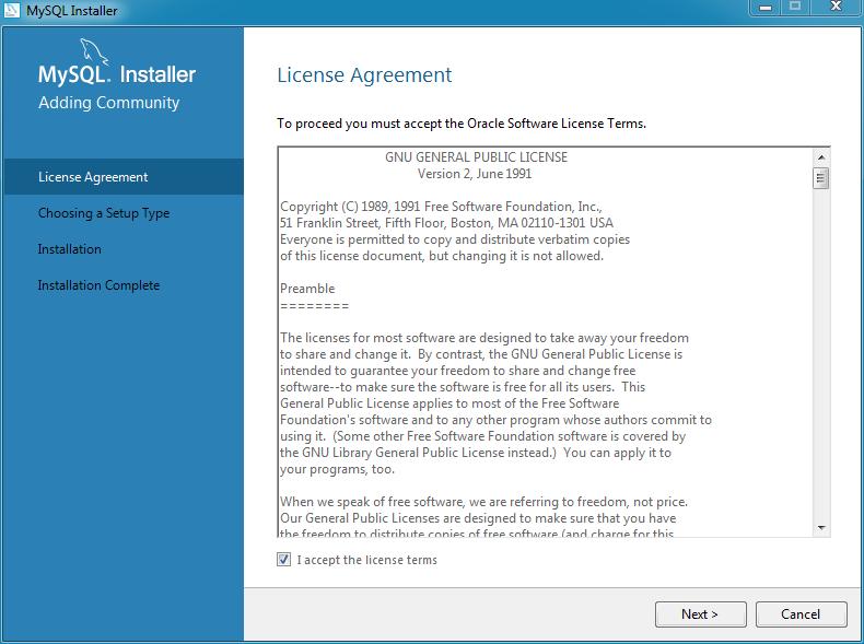 MySQL Installer   License Agreement